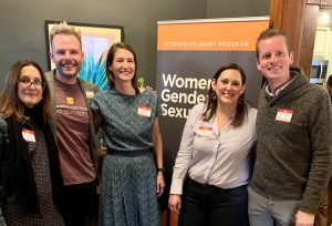 WGS core faculty Maria Stehle, Patrick Grzanka, Sara Ritchey, Kirsten Gonzalez, and Drew Paul (L-to-R) at the fundraising campaign launch.